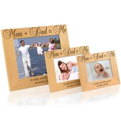 Mom Plus Dad Wooden Picture Frame