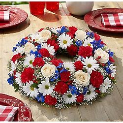 Red, White and Blue Floral Centerpiece