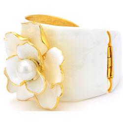 Enamel and Pearl Flower Cuff