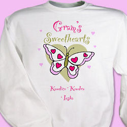 Personalized Butterfly Sweethearts Valentine Sweatshirt