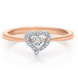 Heart-Shaped Diamond 10K Gold Ring