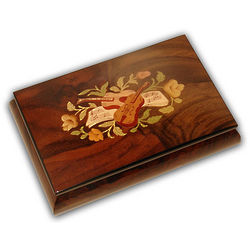 Wooden Musical Jewelry Box with Mandolin Inlay