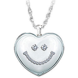 Crystal Smiley Face Pendant Necklace for Granddaughter