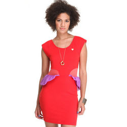 Cap Sleeve Peplum Dress