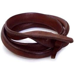 Brown Triple Twist Leather Wrap Bracelet