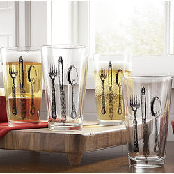 Set of 4 Flatware Pub Glasses