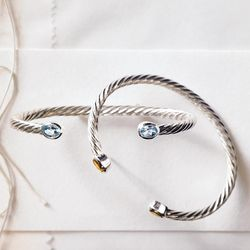 Aquamarine Sterling Silver Birthstone Cuff