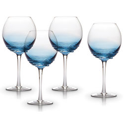 4 Swirl Cobalt Balloon Wine Glasses