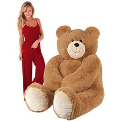 Giant Hunka Love Teddy Bear and Medium Ruby Velour Pajamas
