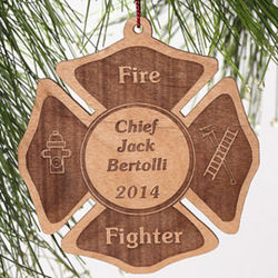 Personalized Fire Fighter Wood Christmas Ornament