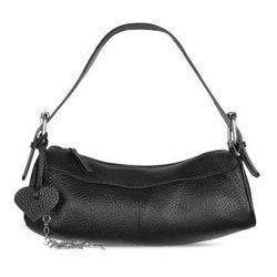 Black Pebble Soft Calf Leather Hobo Bag