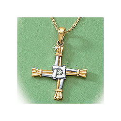 4 Kt. St. Bridget's Cross with Diamond Necklace