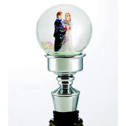 Bride and Groom Snowglobe Bottle Stopper