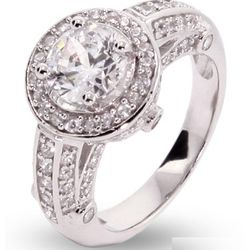 CZ Encrusted Vintage Style Round Ring