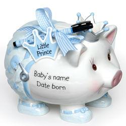 Newborn Personalized Prince Piggy Bank
