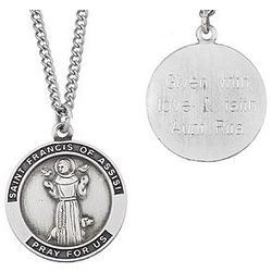 Sterling Silver Engraved St. Francis Medal Necklace