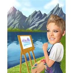 Painter Caricature Fine Art Print