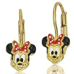 14K Gold Minnie Mouse Earrings with Leverbacks