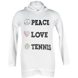 Girls Peace Love Tennis Rhinestone White Hoodie