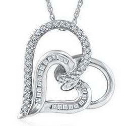 Heart-Shaped Sterling Silver Diamond Pendant
