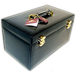 Black Leather Crocodile Jewelry Box