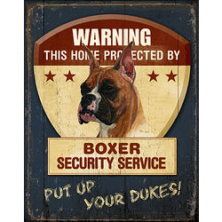 Boxer Home Security Patrol Sign