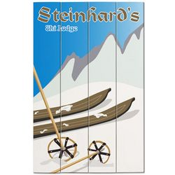 Personalized Ski Lodge Wood Plank Sign
