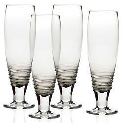 4 Swirl Smoke Pilsner Glasses