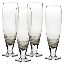 4 Swirl Smoke Pilsner Glasses