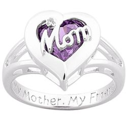 Sterling Mother's Birthstone Heart Ring with Diamond Accent