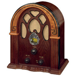 Cathedral Style Two Tone Walnut Radio