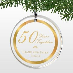 Personalized 50th Wedding Anniversary Round Acrylic Ornament