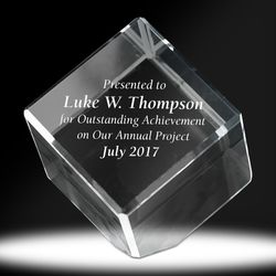 Personalized 3D Jewel Cut Cube Crystal Award