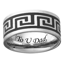 Men's Stainless Steel Engraved Greek Key Band