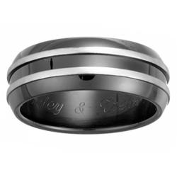 Mens Black Stainless Steel Double Row Engraved Band