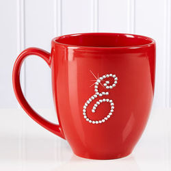 Personalized Red Bistro Coffee Mug with Rhinestone Monogram