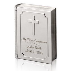First Communion Personalized Silver Bible Keepsake Box