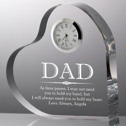 Dad Clear Heart Clock