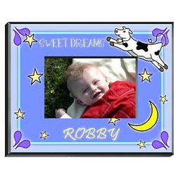 Personalized Cow Jumping Over Moon Boy's Picture Frame
