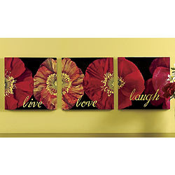 Triptych Live Laugh Love Bloom Wall Art