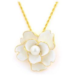Enamel and Pearl Flower Pendant