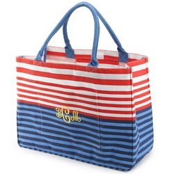 Orange and Navy Stripe Day Tripper Tote
