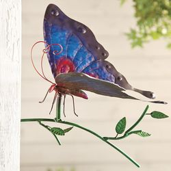 Butterfly with Branch Metal Wall Sculpture