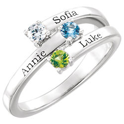 3-Stone Silver Family Ring with Personalized Names & Birthstones