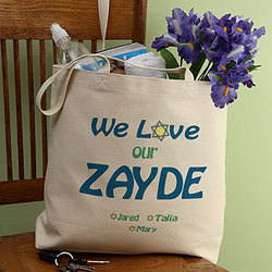 We Love You Judaica Personalized Tote Bag