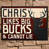 Likes Big Bucks Personalized Wooden Wall Sign