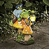 Solar Frog and Butterfly Garden Statue
