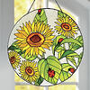 Sunflower and Ladybug Stained Glass Hanging Panel