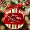 Merry Christmas Glass Striped Ornament