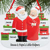 Mr. and Mrs. Claus with Presents Personalized Christmas Ornament
